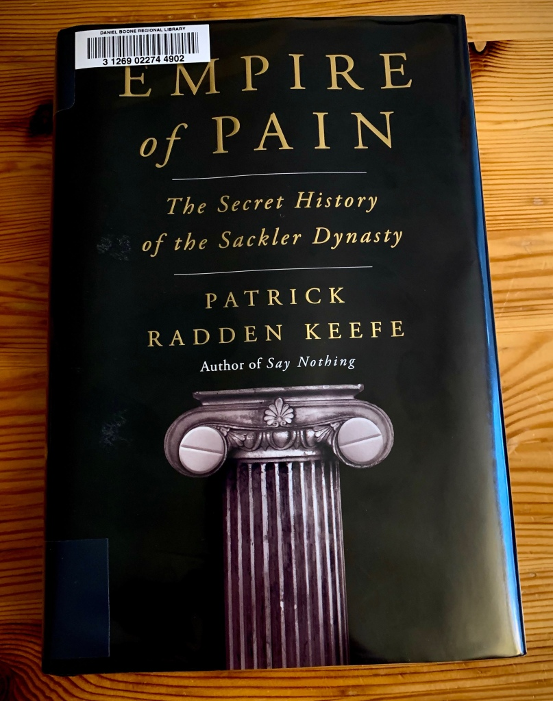 A picture of Patrick Radden Keefe's Empire of Pain.